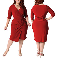 Fashion Woman Overlap Tight Surplice Dress plus-size dresses. 3xl red