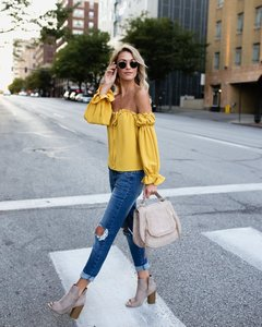 Fashion word collar off-the-shoulder tie bow shirt shirt yellow m