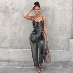 Women's striped suspenders, wide-leg jumpsuits, plus-size sexy summer club jumpsuits black L
