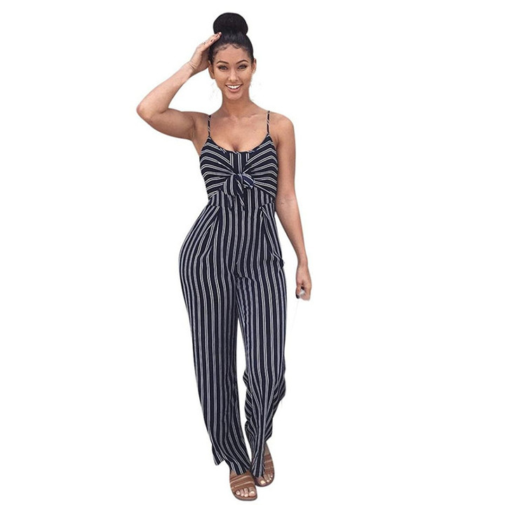 Women's striped suspenders, wide-leg jumpsuits, plus-size sexy summer club jumpsuits dark blue S