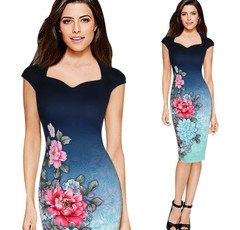 New vintage dress. Slim pencil skirt with digital print dress l the picture color
