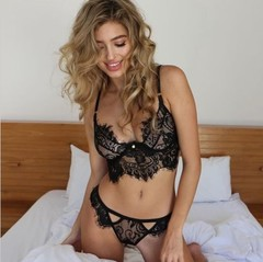 Lady sexy lace three-point sex appeal suit black m