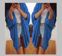 Women new fashion spring coat bat cardigan shirt jacket blue s