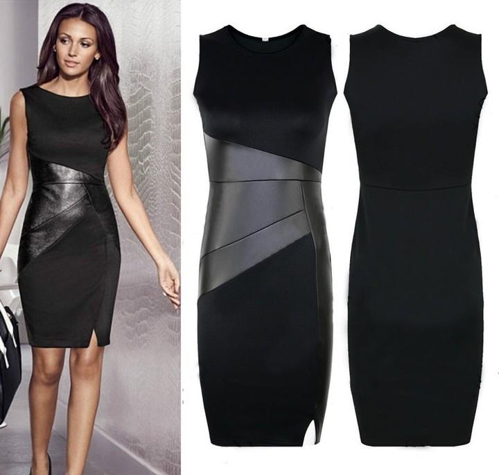Party Dress Women  eather Splice BlacPencil Dress O Neck Sleeveless Elegant Slim Bodycon Dress l black
