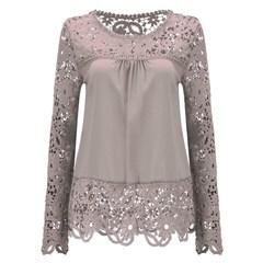 Women Sheer Sleeve Embroidery Lace Crochet Chiffon Shirt khaki 2xl