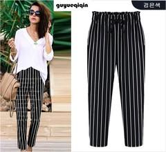 L-5XL Plus Size Casual Women Trousers 2019 Summer Ankle-Length Harem Pants Fashion Dot Print Chiffon Autumn Striped Extra Large