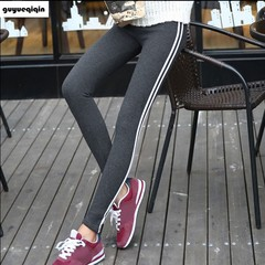 pants  women pencil pants Side Striped Trousers High Waist casual fitness pants Pantalon Femme striped pants autumn spring