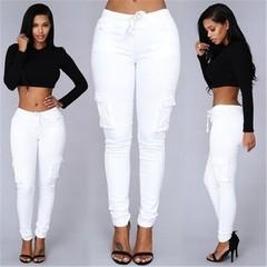 Ladies Cargo Pants Lace up Women Casual Pencil Pants  High Waist Pant Multi-Pocket  Sweatpants white M