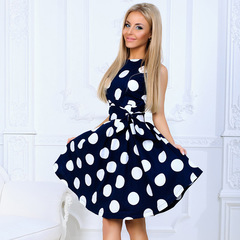 Summer spring and autumn round collar big wave dot sleeveless individual character tide belt dress xxl dark blue