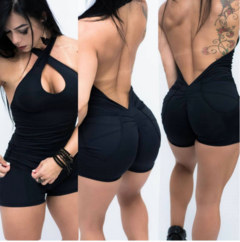 Tight sexy jumpsuit for women with neck and back black s
