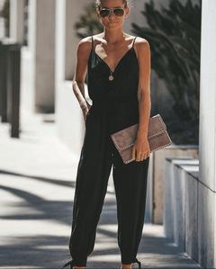 Ladies sexy halter top, deep V neck, sheer cotton jumpsuit black s