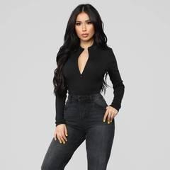 Fashion long sleeve zipper high neck bodycon sexy solid body 2019 autumn winter women  club bodysuit black s