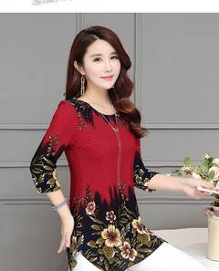 2019 New Fashion women blouse shirt plus size  Chiffon red women's clothing o-neck floral Print tops red m