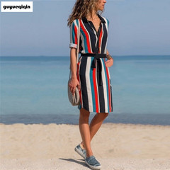New lapel long sleeve dress shirt skirt stripe loose belt casual office fashion plus belt xxl 01