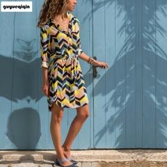 New lapel long sleeve dress shirt skirt stripe loose belt casual office fashion plus belt xl 02