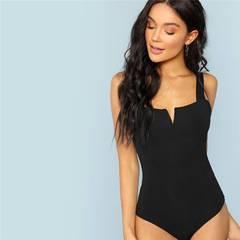 Fashion Black V-Cut Front Bodysuit Sexy Straps Plain Skinny Sleeveless Bodysuits Women black s