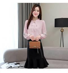 plus size women tops floral embroidery chiffon blouse shirt  2019 long sleeve women shirt pink s