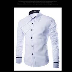 Men Shirt 2019 Spring New Brand Business Men's Slim Fit Dress shirt Male Long sleeve Striped Shirt white m