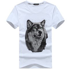 Print TShirt - Black summer new short sleeved t-shirt men's Wolfman half sleeves men's fashion white s cotton