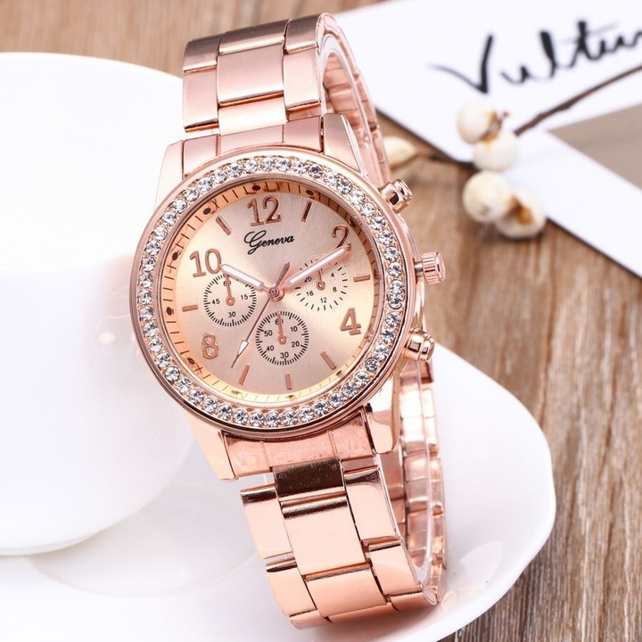GENEVA Brand Fashion Wrist Watch Women Rhinestone Wristwatches Ladies Classic Luxury Quartz Watches rose gold one size