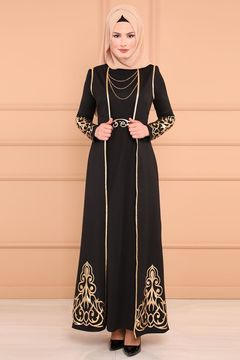 Ladies' new Muslim women's dress with gold perm dress, two-piece set m black