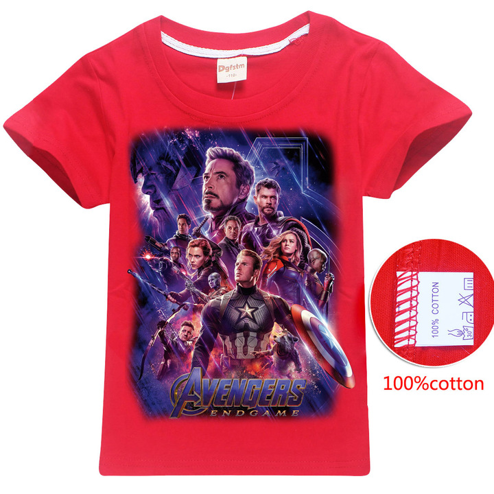 Children's cotton T-shirt - cuhk children's short sleeved avengers 4 Red 110 cotton