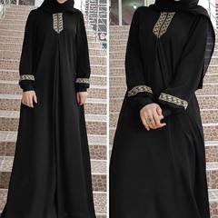 Fashion Muslim Dress Women Plus Size Print Abaya Muslim Maxi Dress Casual Kaftan Long Dress s black