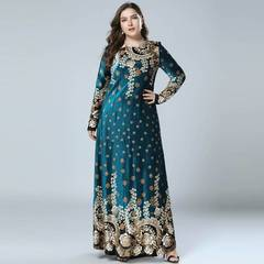 2019 New Winter Velvet Maxi Long Dresses Elegant Gold Stamping Floral Printing Muslim Dress m green