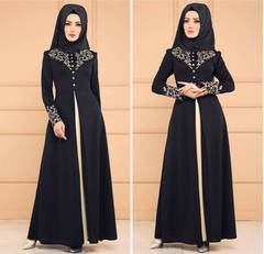 Dubai kaftan Dress Muslim Abaya Women Arabic Lace Cardigain Islam Prayer caftan marocain dresses m black
