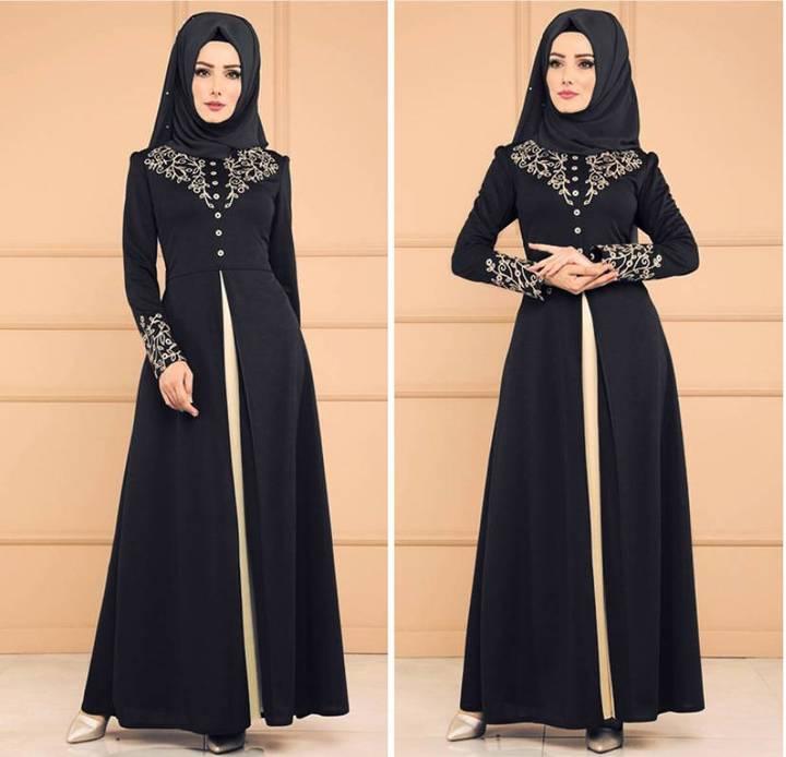 Dubai kaftan Dress Muslim Abaya Women Arabic Lace Cardigain Islam Prayer caftan marocain dresses m black