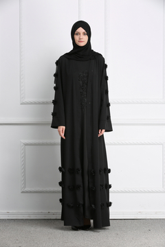 7009 large flowers cardigan dresses dresses new Muslim dress robes Muslim abaya s black