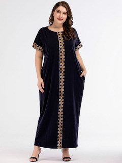 Casual Maxi Dress Knitted Muslim Abaya  Skrit Loose Kimono Long Robe Gowns Ramadan Islamic Clothing m dark blue