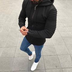 Men Long Sleeve Hooded Jacket Casual Zipper Coat Slim Fit Casual Pullovers Outwear Hoodies Blouse black m