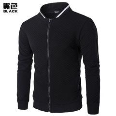 New men's fashion Slim Jacket hoody hoodie zip-up collar hoodie jacket men's check cardigan black m