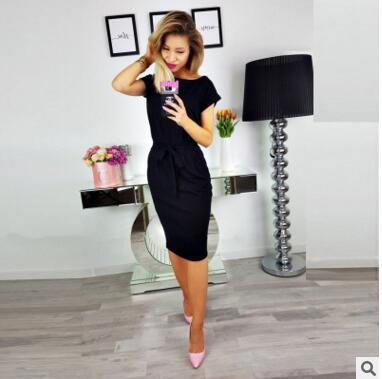 New autumn summer fashion trend sexy round collar high waist European belt pocket dress s black