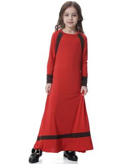 Muslim Children Abaya Girls Long Robe Gowns Maxi Dress Kimono Jubah  Arab Caftan Islamic Clothing red s
