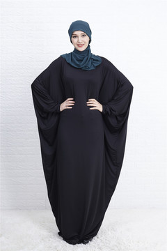 Muslim Abaya Bat Sleeve Maxi Dress Cardigan Loose Long Robe Gowns Ramadan  Islamic Prayer Clothing m black