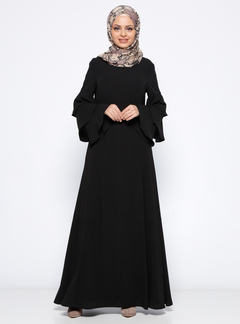 Muslim dress long sleeve women robe loose skirt Arabic dubai abaya dress  islamic clothing m black