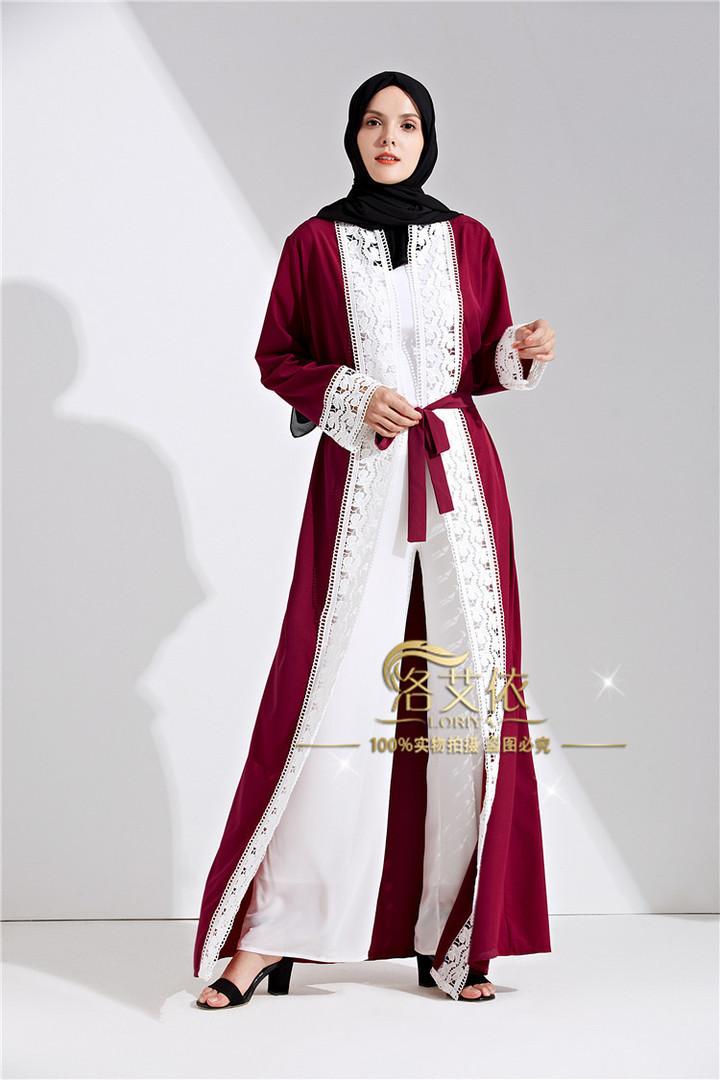 New muslim dress abayas for women baju muslim  moroccan robe orientale musulman open abaya robe xl wine red