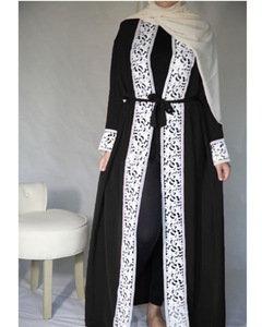 New muslim dress abayas for women baju muslim  moroccan robe orientale musulman open abaya robe s black