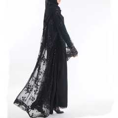 Luxury high class sequins Dubai Muslim women abayas(no hijab no inside dress) s black