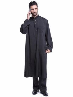 Men Muslim suit  Muslim Thobe Kaftan Dress Long Sleeve Muslim Islamic Robe Men Saudi Arab Clothing black m