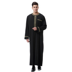 Muslim Clothes Abaya Arabia Thobe Gola Suave India Jubah Dress Islamic Clothing Men  Vestes Homme black m