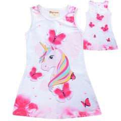 New 2019 girls' summer goblin dress: a unicorn in a cartoon print princess dress pink 120cm