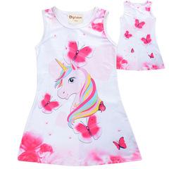 New 2019 girls' summer goblin dress: a unicorn in a cartoon print princess dress pink 150cm