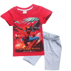 Boy cotton housewear summer children's suit short sleeved T-shirt two-piece suit spider-man red 110 cotton
