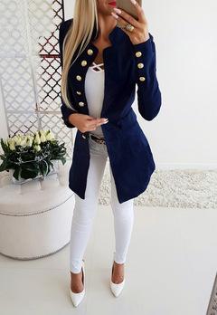 Women's long-sleeved button-down slim suit jacket dark blue s