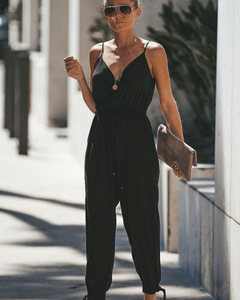 Autumn Women Casual Backless Strap Siamese Trousers Deep V-neck Drawstring Pure Cotton Jumpsuit black s