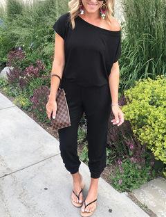 Women Fashion Loose Causal Pure Color Off Shoulder Long Pants Short Sleeves Summer Women Jumpsuit black s