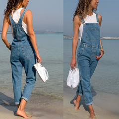 Women Solid Color Causal Dialy Demin Romper Overalls Jumpsuit Demin Pants Demin Blue Large Size blue01 s